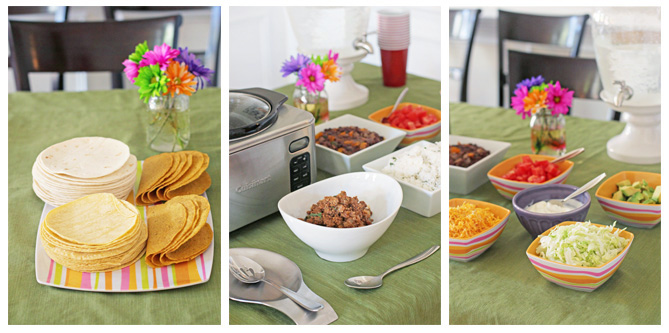 Several photos of a Taco Bar on a dining room table.