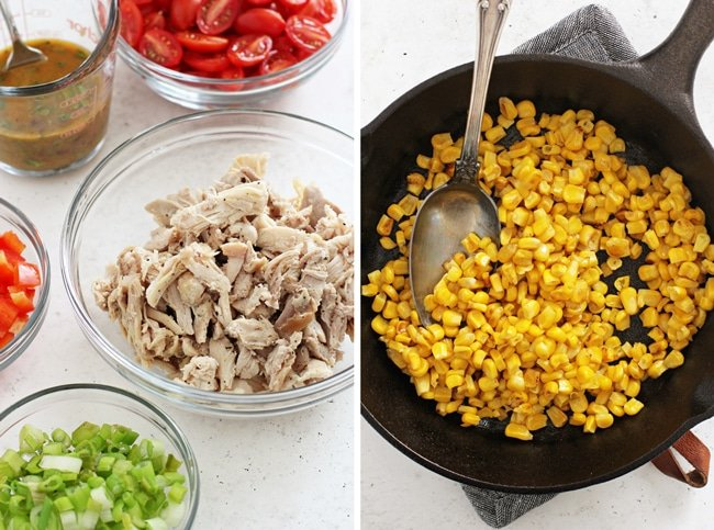 Small bowls filled with the components of Mexican Chopped Salad and corn in a skillet.