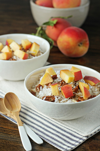 Peach, Pecan and Coconut Oatmeal | Cookie Monster Cooking