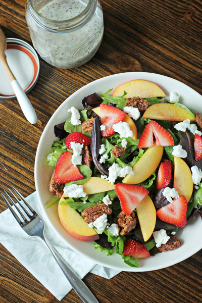 Summer Salad with Sugared Pecans and Poppy Seed Dressing | Cookie Monster Cooking
