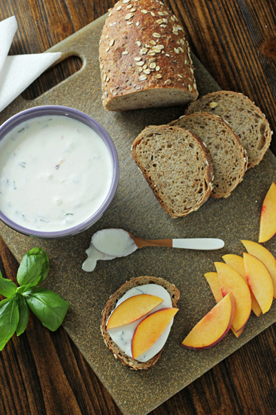 Fresh Basil Ricotta Yogurt Dip with Peaches | Cookie Monster Cooking