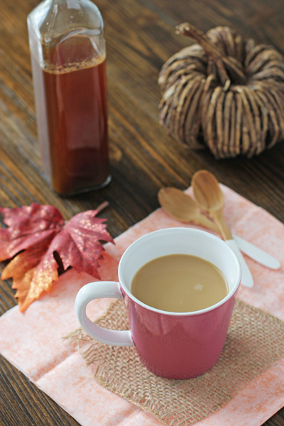 Filled with warm spices and pumpkin puree, this homemade pumpkin spice coffee syrup is a must for Fall! No need to buy pumpkin creamer or pumpkin spice lattes - make them at home instead!
