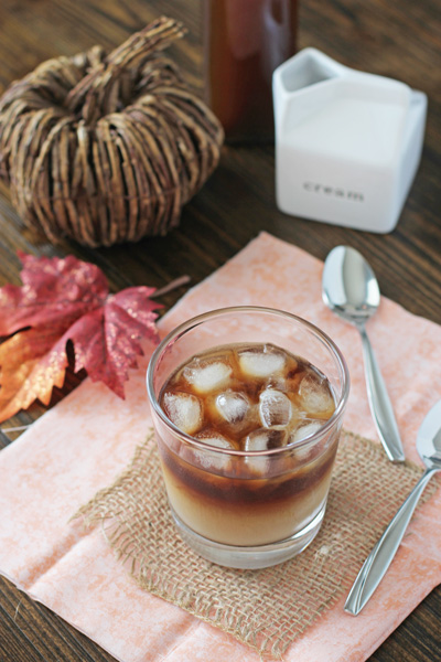 An iced coffee with milk and DIY Pumpkin Spice Syrup.