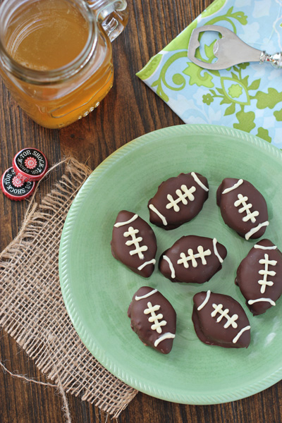 A plate of Football Truffles with beer to the side.