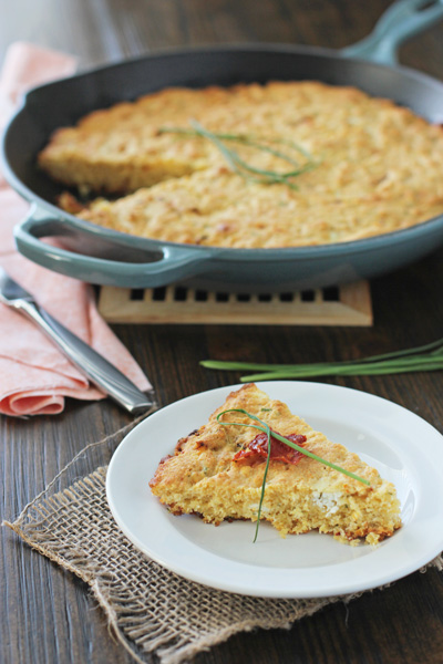 Skillet Cornbread with Goat Cheese and Sun-Dried Tomatoes   Cookie Monster Cooking