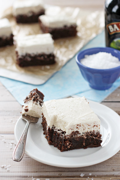 Chocolate Stout Brownies with Irish Cream Frosting | cookiemonstercooking.com