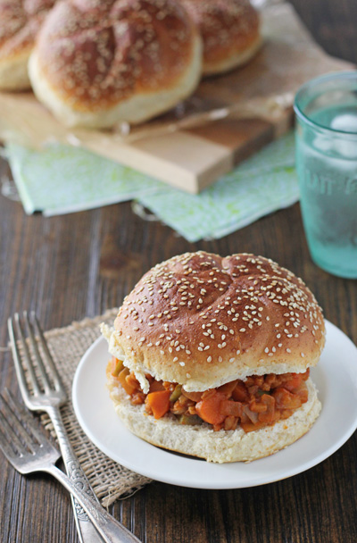 A Vegetarian Farro Sloppy Joe on a white plate.