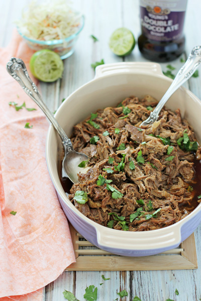 Crockpot Chocolate Stout Pulled Pork | cookiemonstercooking.com