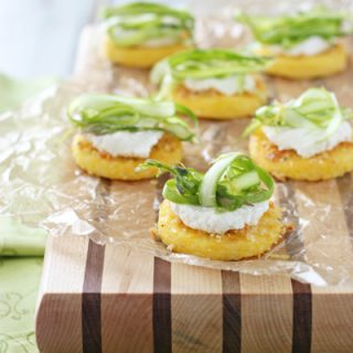 Polenta Bites with Ricotta and Shaved Asparagus | cookiemonstercooking.com