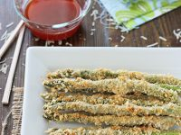 Crispy Baked Asparagus with Honey Sriracha Dipping Sauce   cookiemonstercooking.com