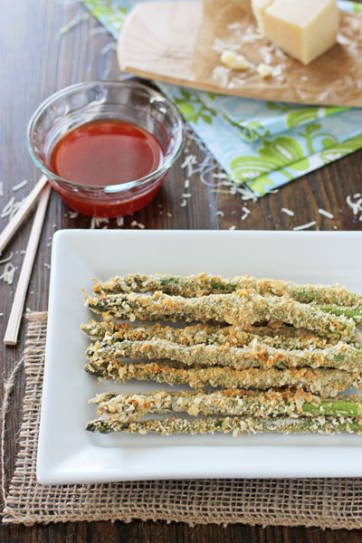 Crispy Baked Asparagus on a white serving platter.