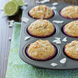 Lime, Dark Chocolate and Coconut Muffins