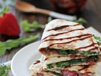 Roasted Strawberry, Brie and Arugula Quesadillas | cookiemonstercooking.com
