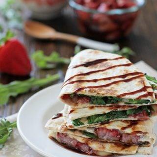 Roasted Strawberry, Brie and Arugula Quesadillas