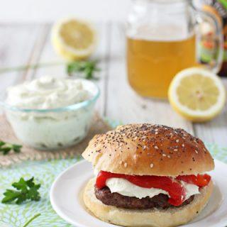 Mediterranean Burgers with Whipped Feta | cookiemonstercooking.com