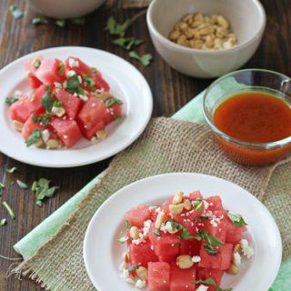 Watermelon Salad with Sriracha Vinaigrette | cookiemonstercooking.com
