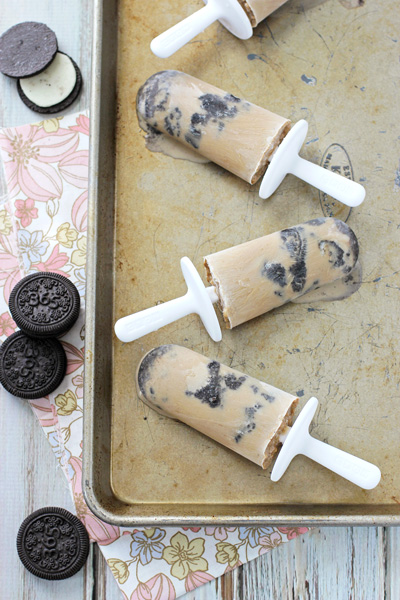 Several Coffee Ice Pops on a baking sheet.