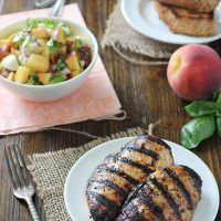 Grilled Balsamic Chicken with Peach Salsa and Chipotle Bread