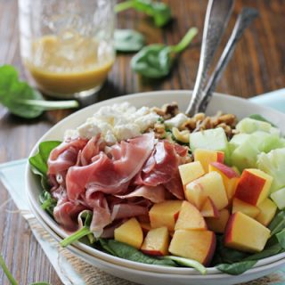 Peach and Prosciutto Salad with Honey Mustard Vinaigrette