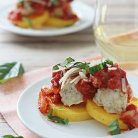 Baked Turkey Meatballs with Polenta Cakes