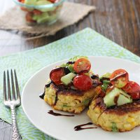 Corn Fritters with Tomato Avocado Salsa