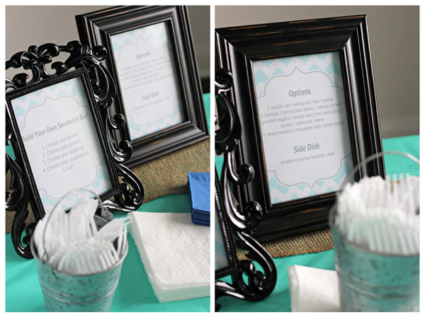 Black frames with build your own sandwich bar instructions.