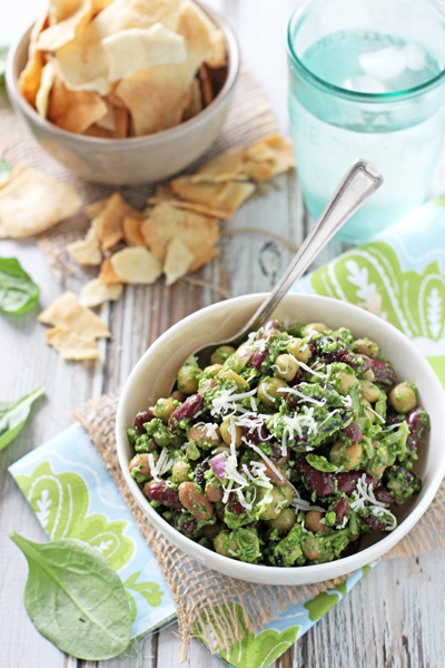 Pesto Bean Salad with Almonds and Cranberries | cookiemonstercooking.com