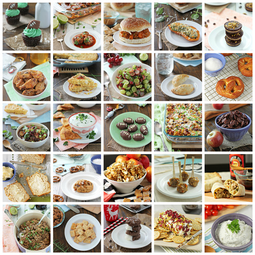 A collage of 25 photos of game day recipes.