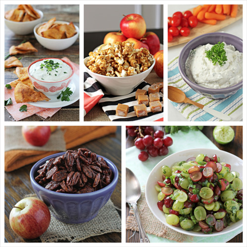A collage of five photos of game day snack recipes.
