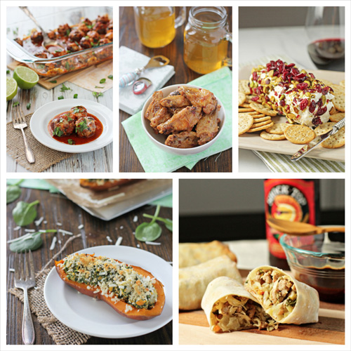 A collage of five photos of game day appetizers.