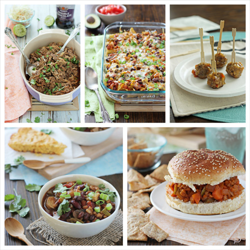 A collage of five photos of game day main dishes.