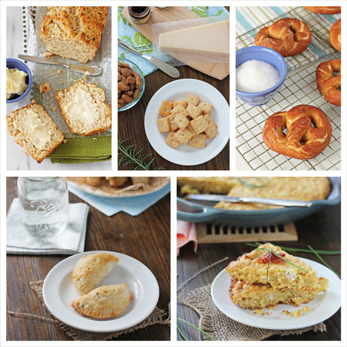 A collage of five photos of carb-y side dish ideas.