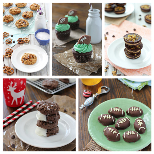 A collage of five photos of game day dessert recipes.