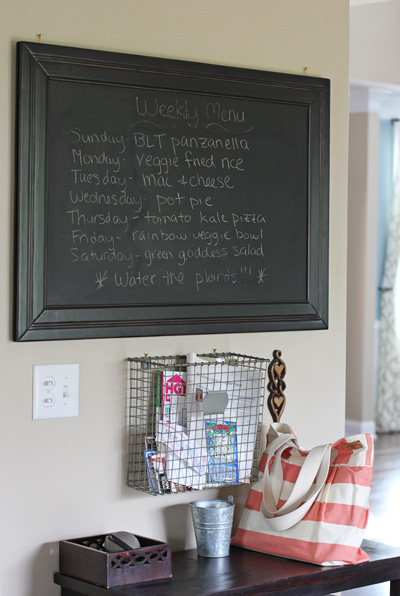 A chalkboard with a weekly meal plan.