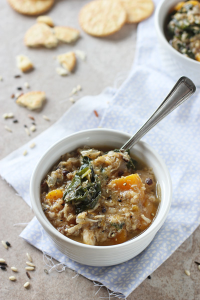 Crockpot Chicken, Wild Rice and Butternut Squash Soup | cookiemonstercooking.com