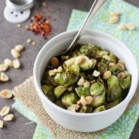 Honey Roasted Brussels Sprouts with Peanuts