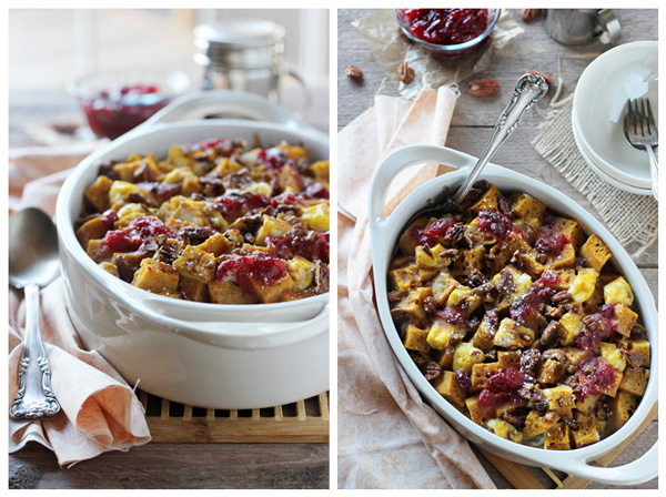 Two photos of Cranberry Breakfast Bake in a white dish on a wooden surface.