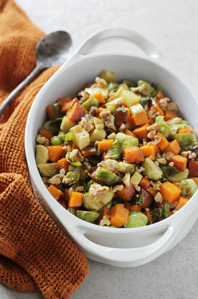 Maple Roasted Vegetables with Toasted Walnuts | cookiemonstercooking.com