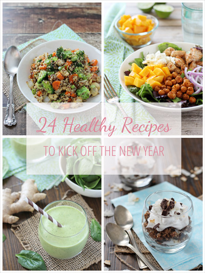 A collage of four photos of healthy recipes for the new year.