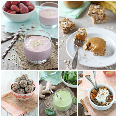 A collage of five photos of healthy breakfast recipes.