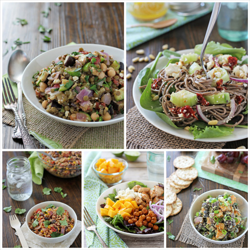 A collage of five photos of healthy salad recipes.