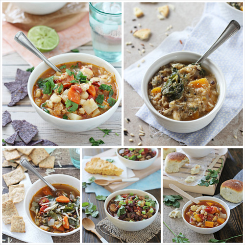 A collage of five photos of healthy soups.