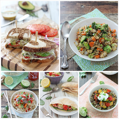 A collage of five photos of healthy dinner recipes.