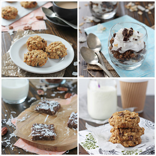 A collage of four photos of healthy dessert recipes.