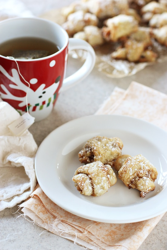 Brown sugar walnut rugelach! These buttery, slightly sweet cookies are irresistible. A special family recipe that is made with sour cream instead of cream cheese!