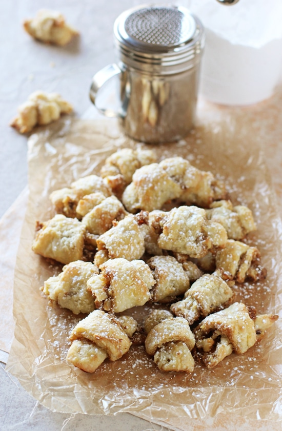 Grandma's butter horns - aka brown sugar walnut rugelach! This special family recipe results in buttery, perfectly sweet cookies!