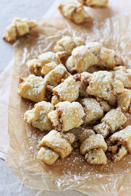My grandma's butter horns - or brown sugar walnut rugelach - are perfect for the holidays! Made with sour cream instead of cream cheese, these buttery, slightly sweet cookies are oh-so-popable!
