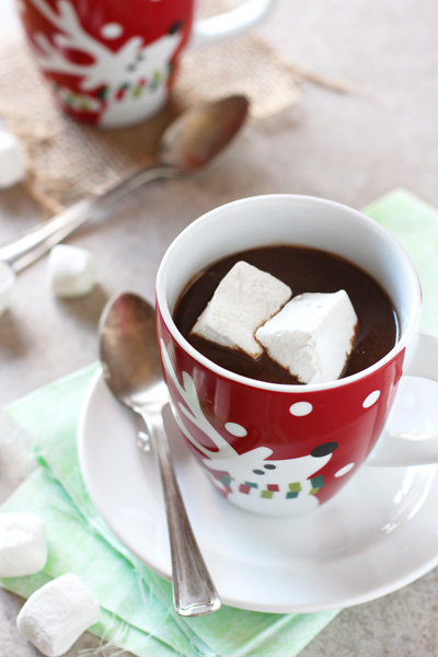 Two reindeer mugs filled with Slow Cooker Gingerbread Hot Chocolate.