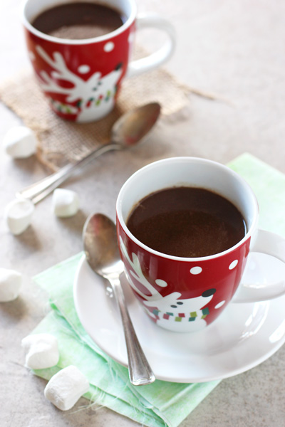 Two festive holiday mugs filled with Slow Cooker Hot Chocolate.
