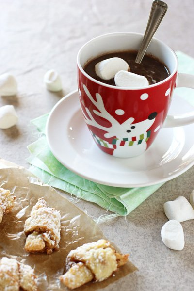 A festive mug filled with Gingerbread Hot Chocolate and some cookies to the side.